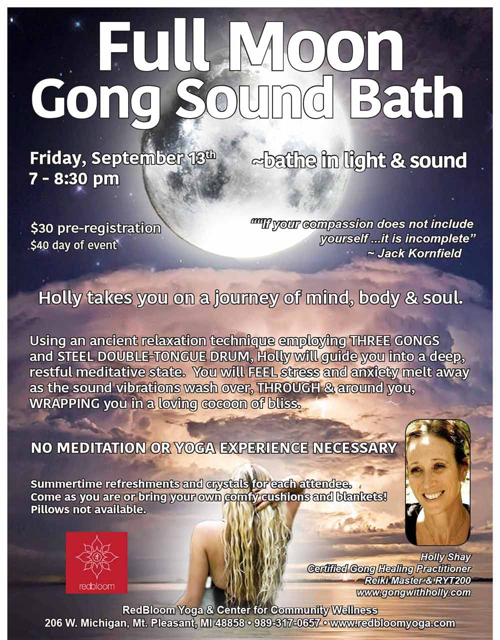 Full Moon Gong Sound Bath, Sept 13, RedBloom Yoga, Mt. Pleasant Holly Shay Certified Gong Healing Practitioner Reiki Master & RYT200