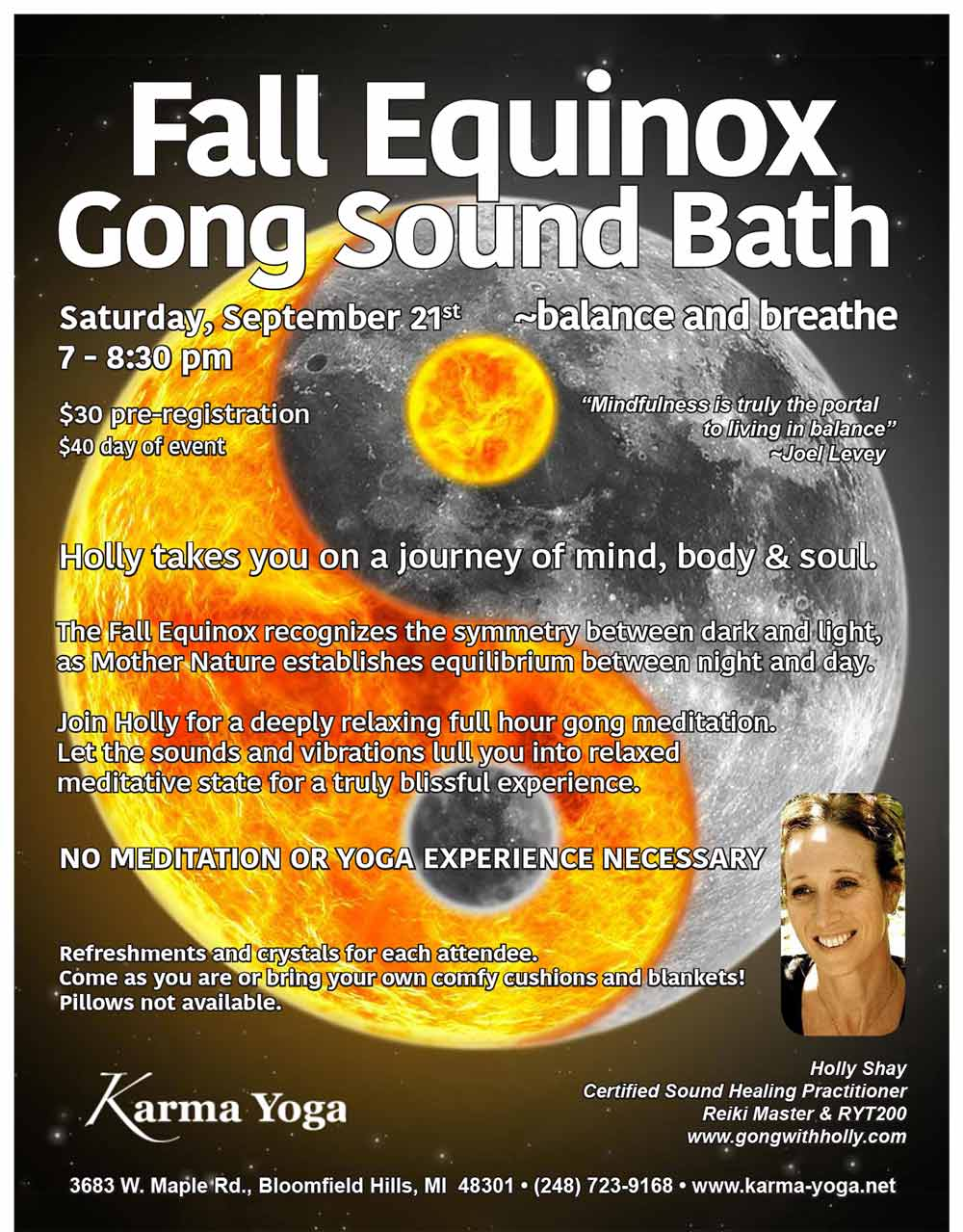 Fall Equinox Gong Sound Bath, Sept 21st, Karma Yoga, Bloomfield Hills Holly Shay Certified Sound Healing Practitioner Reiki Master & RYT200 www.gongwithholly.com