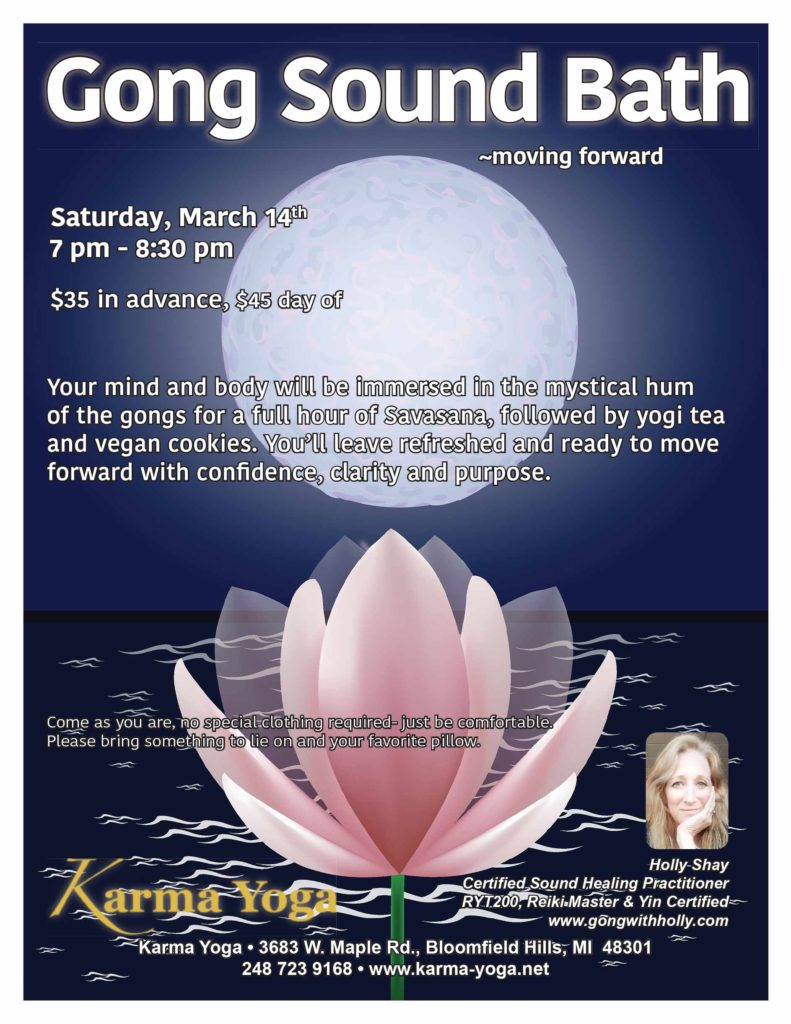 Gong Sound Bath Karma Yoga Bloomfield Hills, MI Holly Shay