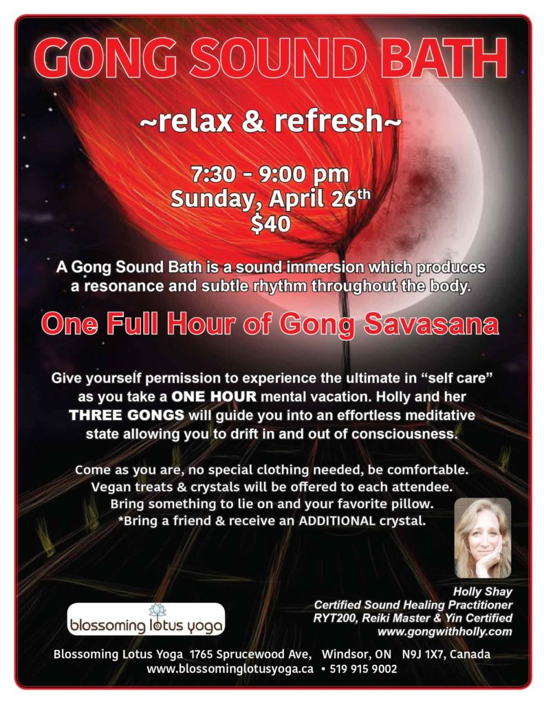 GONG SOUND BATH Blossoming Lotus Yoga - Windsor, ON